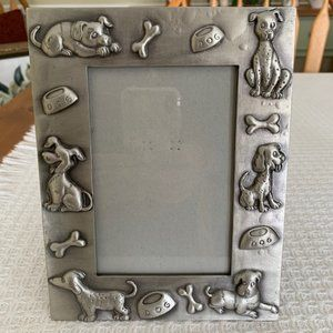 """Pewter Pet Dog Picture Frame~4""""x 6"""""""